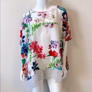 Jamie Gries Fringe Floral Print Poncho- Ivory